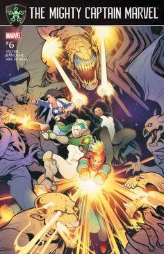 The Mighty Captain Marvel #6 ALPHA FLIGHT SPACE STATION Cadets Sasquatch Puck Chitauri Marvel Comics
