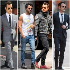 In our latest edition of Steal His Style, learn how to dress like the very fashionable, Justin Theroux, with tips from our Personal Stylists. Justin Theroux, Burberry Men, Gucci Men, Stylish Men, Men Casual, Casual Outfits, Rock Style Men, Leather Jacket Outfits, Suede Chelsea Boots