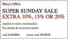 Macys Super Sunday Sale