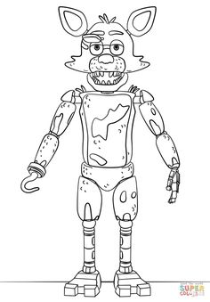 FNAF Toy Foxy coloring page from Five Nights at Freddy's category. Select from 29042 printable crafts of cartoons, nature, animals, Bible and many more.