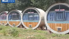 A bizarre hotel made from pieces of concrete piping has appeared in a village in Henan Province, China.