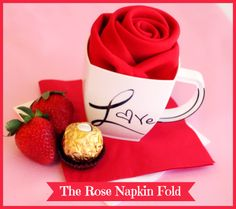 The Rose Napkin Fold Tutorial -plus 2 other 'romantical' napkin fold tutorials to help your table look extra flirty for that special someone. #Valentinesday #SmartyHadAParty