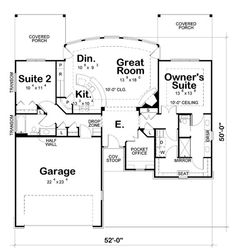 ONLY A 2 BEDROOM BUT LOVE THE GREAT ROOM/KITCHEN AND MASTER LAYOUT. INSPIRATION? First Floor Plan of Craftsman House Plan 66626