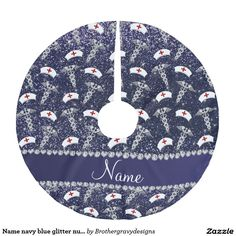Name navy blue glitter nurse hats silver caduceus brushed polyester tree skirt