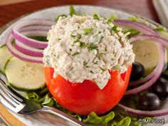 Extra Off Coupon So Cheap Tuna Stuffed Tomatoes: There's something really fun and eye-catching about serving stuffed tomatoes and our Tuna Stuffed Tomatoes will truly make you happy because this recipe as is healthy as it is tasty. Read more at Diabetic Recipes, Low Carb Recipes, Cooking Recipes, Healthy Recipes, Diabetic Foods, Healthy Meals, Easy Meals, Tuna Stuffed Tomatoes, Tomato Dishes