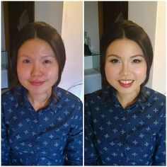 Before and after makeup. Asian makeup artist based in Rome italy traveling around italy and europe for weddings and photoshoots. Hair and makeup by Janita Helova www.janitahelova.com