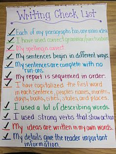Fabulous Fourth Grade: Anchor Charts writing checklist
