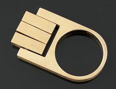 Hans Hansen 14k Gold Modernist Kinetic Ring Denmark