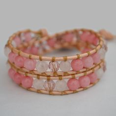 The Cherish wrap bracelet has been designed combining beautiful Pink Morganite (Pink Emerald), Rose Quartz and sparkling Swarovski crystals. Created to awaken, inspire and promote Love in ourselves, working from within. Open up to infinite possibilities. Believe in You.  On metallic pearl leather, finished with a unique copper button clasp and a delicate heart charm.