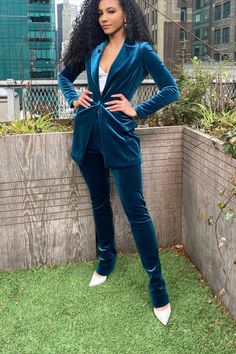 Suit for Work, White Collar Glam, NYC street style, velvet suit, business suit, chiara boni blue velvet suit, whtie pumps, steve madden heels, business formal, professional suit, pantsuit, pantsuit nation, work suits, black girl magic, natural hair workplace, mixed girl hair, natural hair, cute office outfit, work fashion blog, interview outfit, jewel tone outfit, fitted work suit, velvet formal outfit