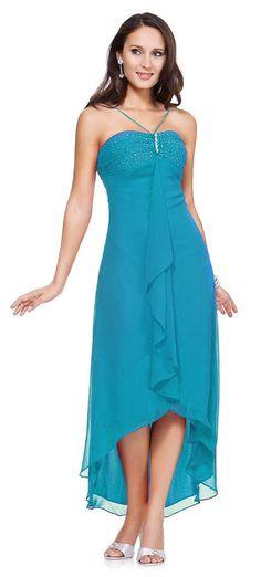 0cef4127b6ca Turquoise Tea Length Dress Bridesmaid V Spaghetti Neck Knee Length Tea Length  Dresses, Chiffon Dress