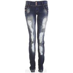 Stud Pocket Allover Rip Skinny Jean ($32) ❤ liked on Polyvore