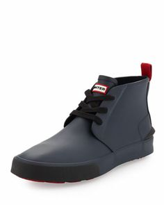Bakerson Lace-Up Rubber High-Top, Navy  by Hunter Boot at Neiman Marcus.