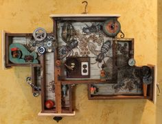"""""""Out of the Woodwork""""--Assemblage-Encaustic, Found Objects, Ink, and Oil--Junk Drawer Series Artist:  Kathy Moore   www.kathymooreart.com"""