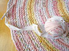 custom rag rug - round recycled pink crochet - pink and yellow baby nursery rug