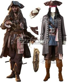 Mens Voyager Pirate Costume Caribbean Halloween Fancy Dress Outfit