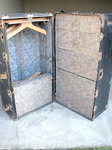 Antique Vintage Hartmann Wardrobe Steamer Travel Chest Case Trunk With Keys