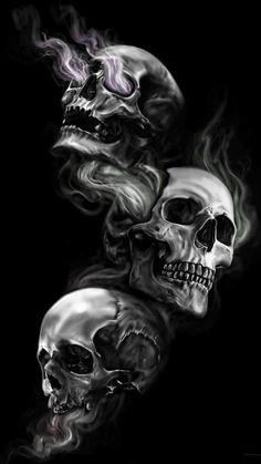 Black Wallpaper Skull Badass Wallpapers For Android 04 40 Three Skulls on Dark Black Background - HD Wallpapers Evil Skull Tattoo, Skull Rose Tattoos, Skull Tattoo Design, Evil Tattoos, Badass Wallpaper Iphone, Android Wallpaper Dark, Iphone Wallpapers, Wallpaper Wallpapers, Black Wallpaper Iphone Dark