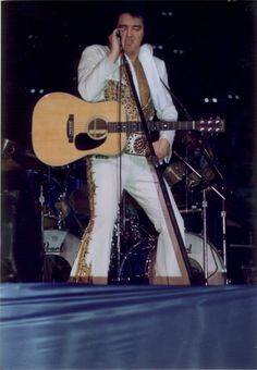 "June 26, 1977, Elvis gave what would be his final concert at the (now-demolished) Market Sq Arena in Indianapolis for 18,000 screaming fans!!! According to those in the know, Elvis' performance was probably the best one of this tour - definitely better than June 19 or June 21, 1977 when CBS filmed two shows (Omaha, NE & Rapid City, SD) for the posthumous TV special, ""Elvis In Concert"" Oct 3, 1977. Photo here commemorates that final performance. Photo credit, Bob Heiss."