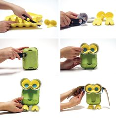 Owl using materials from around the home: egg cartons, bits of cardboard, aluminum foil pans for the eyes and Makedo