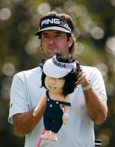 No, Bubba Watson didn't bring his infant son to the course. That's his new driver cover, showing him in his overalls from the 'Golf Boys' video. Golf Club Sets, Golf Clubs, Pga Tour Players, Golf Headcovers, Augusta National Golf Club, New Drivers, Play Golf, Mens Golf