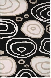 This rug is a visually stunning sight. Ovals of white and gray overlap one another on a black background. This rug is hand-tufted in India using a special blend of New Zealand wool yarn.