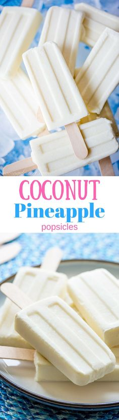 Creamy, smooth Coconut Pineapple Popsicles are made with only 4-ingredients and couldn't be easier to prepare!   www.savingdessert.com