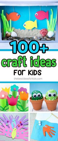 Over 100+ Easy Craft Ideas for Kids. Easy crafts for any age - toddler, preschool, kindergarten. Summer, winter, and all holiday craft ideas. #kidscrafts #easycrafts #craftideas via @bestideaskids