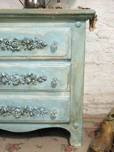 Painted Cottage Chic Shabby Aqua Night Table by paintedcottages, $120.00
