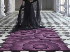 Textures Realm Purple x Made From Wool Modern Design Home Floor Rug (Purple)