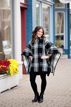 Black Winter Shorts...Oh and a GIVEAWAY   Kim Ray Poncho's, shorts, booties, hair, color