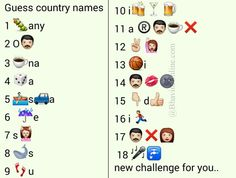 Whatsapp Puzzles: Guess 18 Country Names From Emoticons and Smileys Guess The Emoji Answers, Quiz With Answers, Word Riddles, Word Puzzles, Picture Puzzles, Whatsapp Smiley, Dare Messages, Funny Games For Groups, Cute Funny Quotes