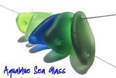 5 Double Drilled Rare Cobalt.Foam Lime Green by aquablueseaglass, $19.99