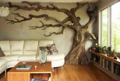 Wooden tree wall decor
