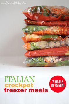 Italian Crockpot Freezer Meals > 7 in 75 minutes Slow Cooker Freezer Meals, Healthy Freezer Meals, Dump Meals, Crock Pot Slow Cooker, Make Ahead Meals, Freezer Cooking, Crock Pot Cooking, Easy Meals, Freezable Meals