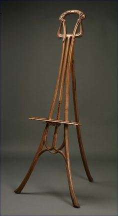 Lot: 1108: A French Art Nouveau walnut easel, Lot Number: 1108, Starting Bid: $750, Auctioneer: John Moran Auctioneers, Inc., Auction: Antique & Fine Furnishings Auction, Date: July 25th, 2007 CEST