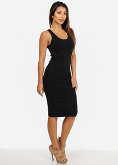 Black Basic Sleeveless Bodycon Midi Dress