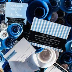Blue wedding invitation by #JulieHananDesign #blueweddings #stripes #modern #invitations #blue #theknot A Modern Wedding in St. Louis, MO
