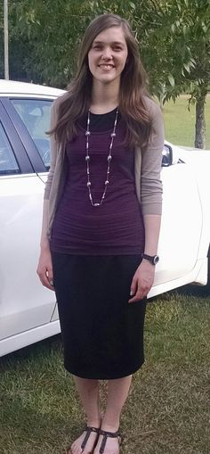 modest church outfit~black pencil skirt~cardigan @happily_elizabeth on Instagram