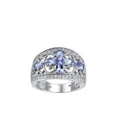 Tanzanite & White Topaz Floral Sterling Silver Ring for 34.99. Wow. Great price for a pretty ring. Ok. It's mine!