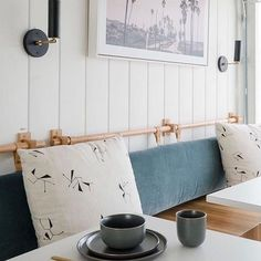 You likey? We keep spotting these headboard and banquette back rests that are an upholstered pad, hanging from a wooden dowel. They are… Kitchen Dinning, Dining Bench, Dining Rooms, Pillow Headboard, Oak Street, Diy Hanging, Cushions, Pillows, Home Kitchens