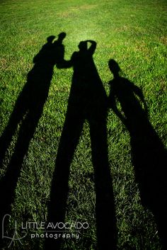 distorted shadows on green grass...