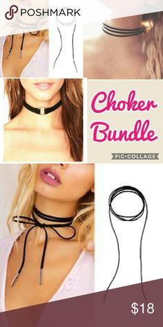3pc choker Bundle Includes one wrap necklace, one multilayer(3 layers) choker and one ring choker. Only one bundle available.  Hi Sweety!  Thanks for looking at my closet! I always have some sort of sale going on and new items arrive weekly. Be sure to check back soon!!  Happy Shopping!  Tags: follow game gift gifts trendy cheap deal sale Kim kardashian celeb style brand new delicate layered Jewelry Necklaces