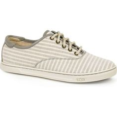 UGG Women's Eyan Stripe II Oyster Athletic Shoes & Sneakers featuring polyvore, women's fashion, shoes, sneakers, ugg australia, nautical shoes, patterned shoes, ugg® australia shoes and striped shoes