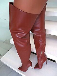e9112eac8ecfb6 LEATHER OVERKNEE BOOTS 1969 MADE IN ITALY HIGH HEELS B168 STIEFEL 35-44  LEDER