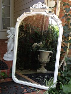 Great Old MIRROR Hand Painted Shabby Chic French White Wood Frame Original Glass 20 x 35-1/4 Arch Fleur De Lis Top