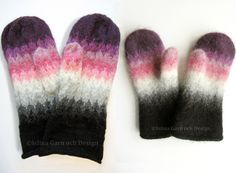 Here comes a picture of the last and third pair of mittens I knitted and felted in the washing machine. I really like them: The knitting . Swedish Girls, Knit Mittens, Knitting Stitches, Colorful Fashion, Knit Crochet, Gloves, Felt, Fabric, Knitting Ideas