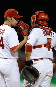 LOUIS, MO - APRIL Jaime Garcia of the St. Louis Cardinals talks with Yadier Molina during the fifth inning against the Cincinnati Reds at Busch Stadium on April 2013 in St. (Photo by Jeff Curry/Getty Images) Jaime Garcia, Busch Stadium, Yadier Molina, St Louis Cardinals, Cincinnati Reds, The St, Sports News, Missouri, Mlb
