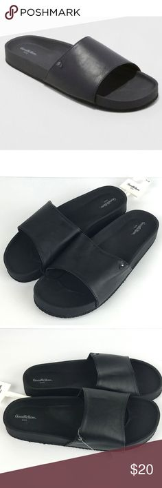 watch bfded 388a2 Mens Black Faux Leather Ryler Slide Sandal Goodfellow  Co. Mens Black Faux  Leather Ryler