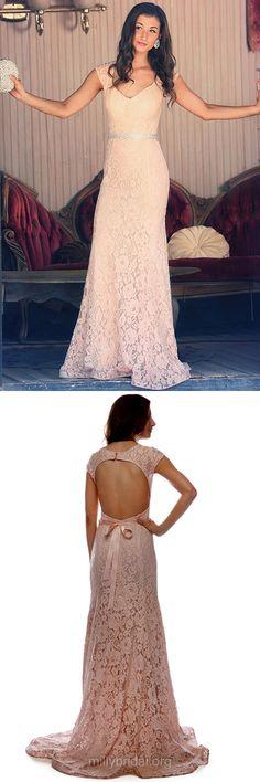 Fabulous Long Prom Dresses, Pink Prom Dresses, V-neck Prom Dresses, Sheath/Column Lace Prom Dresses, Sashes / Ribbons Open Back Prom Dresses